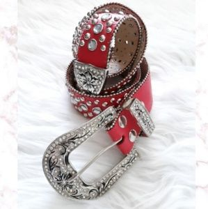 Accessories - New! Rhinestone Studded Leather Belt